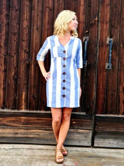 Azora Kleid 3-4 Aermel gestreift blau weiß