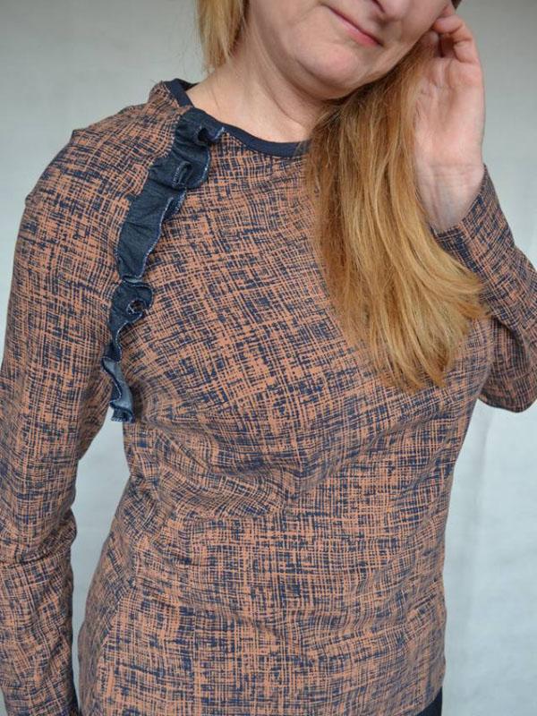 Shirt Charlette braun blau Sumra