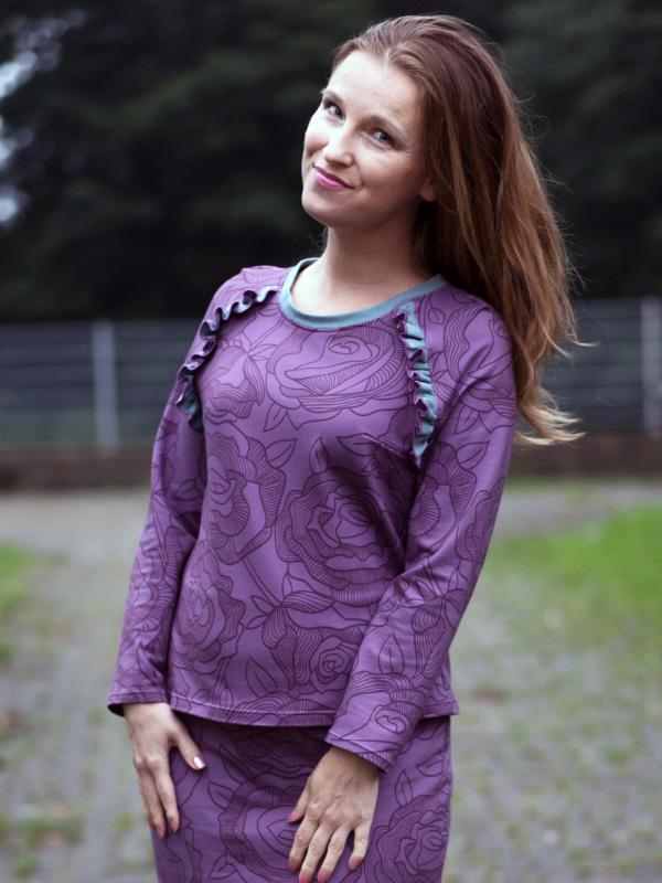 Shirt Charlette lila blumig Ivonne