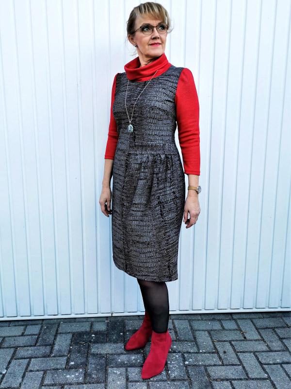 Kleid Neta rot grau