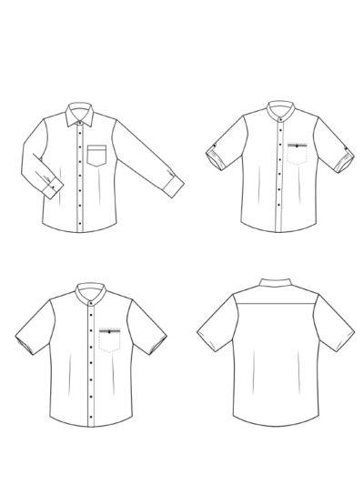 Maennerhemd Technische Zeichnung