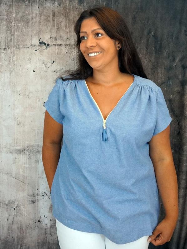 Bluse Rosanne kurzaermelig blau