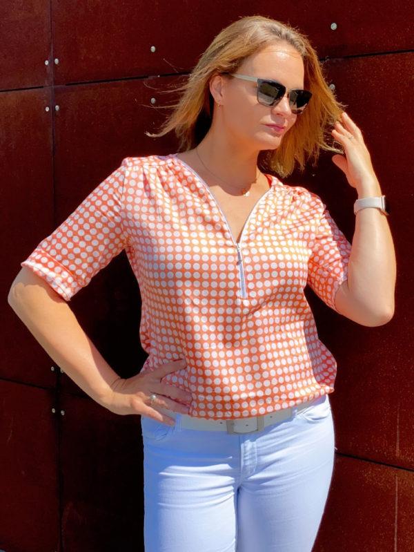 Rosanne orange Krempelaermel