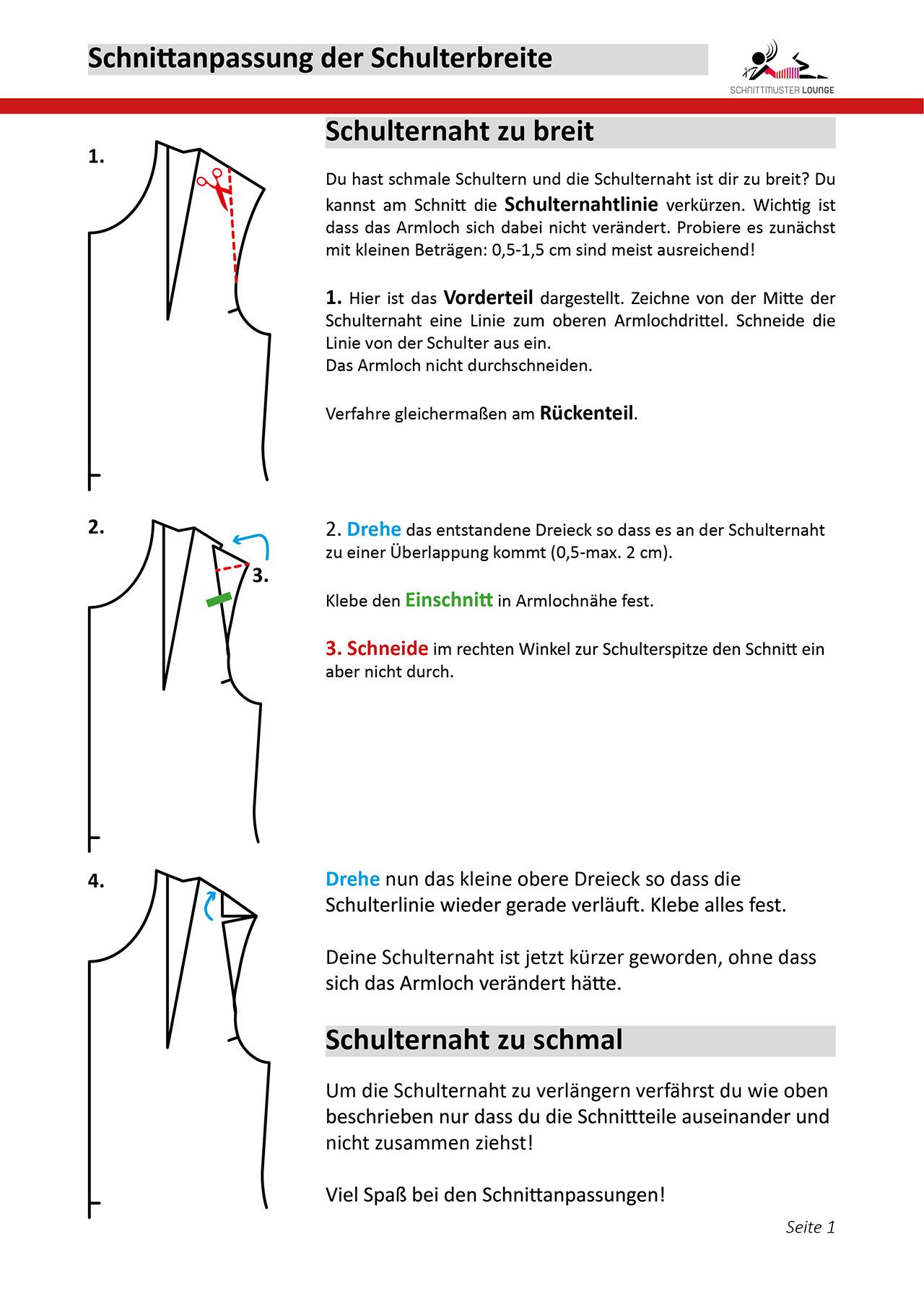 Schnittanpassung der Schulterbreite